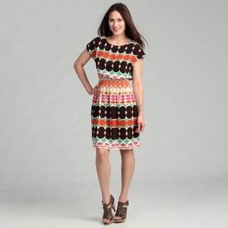 Tiana B Women's Coral/ Multi Printed Cinched Dress