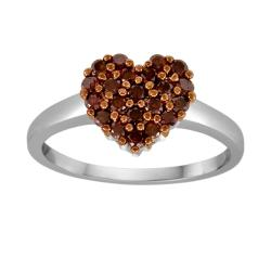 Sterling Silver 1/2ct TDW Red Diamond Heart Cocktail Ring
