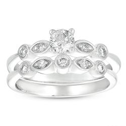 14k White Gold 3/8ct TDW Diamond Bridal Set (H-I, I1-I2)
