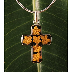 Sterling Silver Yellow Flowers Bouquet Cross Necklace (Mexico)
