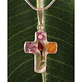 Sterling Silver Rose/ Bouquet of Flower Cross Necklace (Mexico)