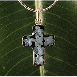 Sterling Silver Blue Flowers Bouquet Cross Necklace (Mexico)