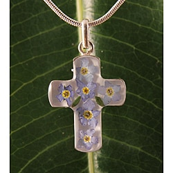 Sterling Silver Forgetmenot Flowers Cross Necklace (Mexico)