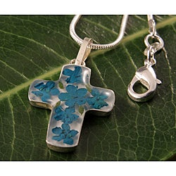 Sterling Silver Green Flowers Bouquet Cross Necklace (Mexico)