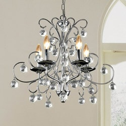 Messina 5-light Chrome and Crystal Chandelier