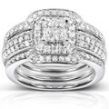 Annello 14k White Gold 3/4ct TDW Diamond 3-piece Bridal Ring Set (H-I, I1-I2)