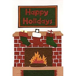 Set of 6 Holiday Fireplace Christmas Cards (Rwanda)