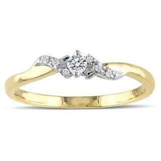 Miadora 10k Two-tone Gold 1/10ct TDW Diamond Engagement Ring (H-I, I2-I3)