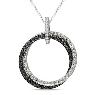 M by Miadora Sterling Silver White Diamond Accent Double Ring Pendant Necklace