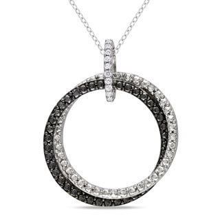 Miadora Sterling Silver White Diamond Accent Double Ring Pendant Necklace