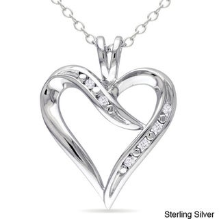 Miadora Sterling Silver White Diamond Heart Pendant Necklace