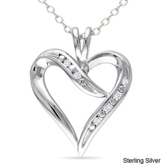 M by Miadora Sterling Silver White Diamond Heart Pendant Necklace