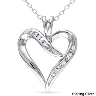 Sterling Silver White Diamond Heart Pendant Necklace