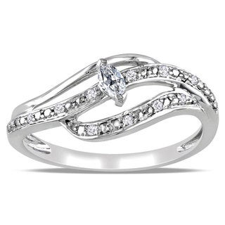 Miadora 10k White Gold 1/6ct TDW Marquise Diamond Ring (H-I, I2-I3) with Bonus Earrings