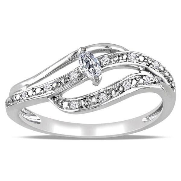 Miadora 10k White Gold 1/6ct TDW Marquise Diamond Ring (H-I, I2-I3)