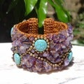 Turquoise and Amethyst 'Mai' Bead Cuff Bracelet (Thailand)