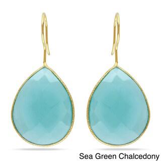 M by Miadora Goldtone Pear-cut Gemstone Dangle Earrings (30ct TGW)