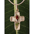 Sterling Silver Single Rose Cross Necklace (Mexico)
