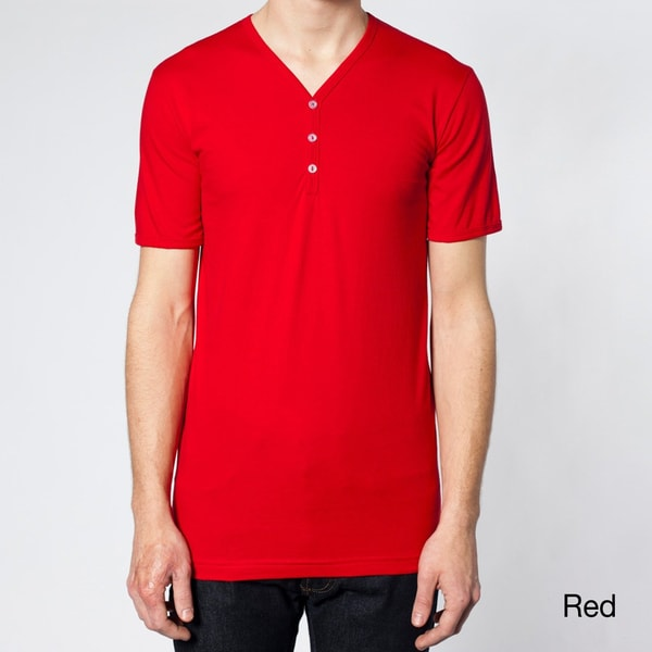 American Apparel Unisex Fine Jersey Short Sleeve Henley Button V-Neck