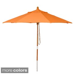 PHAT TOMMY 9 Foot Pacifica Fabric Marenti Wood Market Patio Umbrella