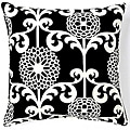 Floret Black 20x20-inch Cotton Decorative Pillow