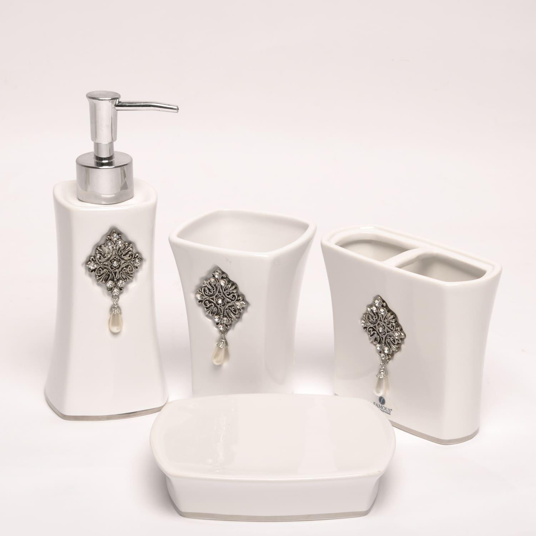 Jewel White Boutique Fauxjewel Ceramic Bath Accessory 4