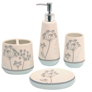 Waverly 'Simplicity Blue Boutique' Ceramic 4-piece Bath Accessory Set