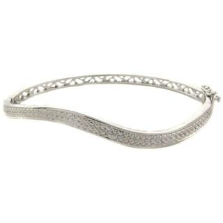 Finesque Sterling Silver Diamond Accent Wavy Bangle Bracelet