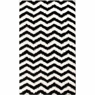 nuLOOM Luna Black and White Chevron Shag Rug (4' x 6')