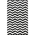 nuLOOM Luna Black and White Chevron Shag Rug (4' x 6')