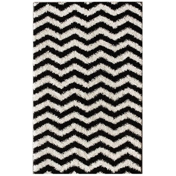 nuLOOM Luna Black and White Chevron Shag Rug (6'7 x 9')