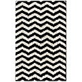 nuLOOM Luna Black and White Chevron Shag Rug (6'7 x 9')