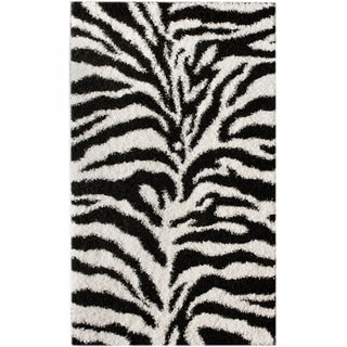 nuLOOM Luna Black and White Zebra Shag Rug (5' x 8')
