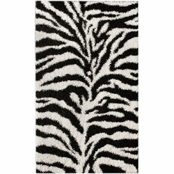 nuLOOM Luna Black and White Zebra Shag (8' x 10')