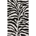 nuLOOM Luna Black and White Zebra Shag (8' x 10')