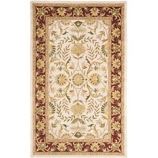 Handmade Heritage Treasures Beige/ Red Wool Rug (5' x 8')