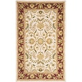 Handmade Heritage Treasures Beige/ Red Wool Rug (5' x 8')