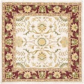 Handmade Heritage Treasures Beige/ Red Wool Rug (6' Square)