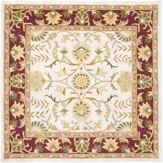 Handmade Heritage Treasures Beige/ Red Wool Rug (6' Square)