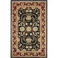 Handmade Heritage Treasures Black/ Red Wool Rug (5' x 8')
