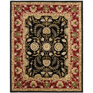 Safavieh Handmade Heritage Treasures Black/ Red Wool Rug (6' x 9')