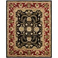 Handmade Heritage Treasures Black/ Red Wool Rug (6' x 9')
