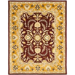 Handmade Heritage Treasures Red/ Gold Wool Rug (6' x 9')