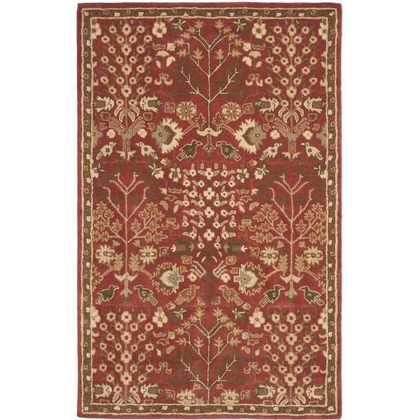 Safavieh Handmade Heritage Tree of Life Red Wool Rug (5' x 8')