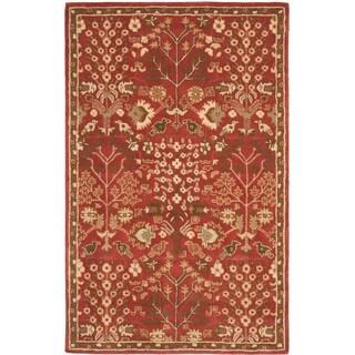 Safavieh Handmade Heritage Tree of Life Red Wool Rug (5' x 8')