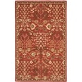 Handmade Heritage Tree of Life Red Wool Rug (5' x 8')