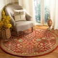 Handmade Heritage Tree of Life Red Wool Rug (6' Round)