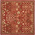 Handmade Heritage Tree of Life Red Wool Rug (6' Square)
