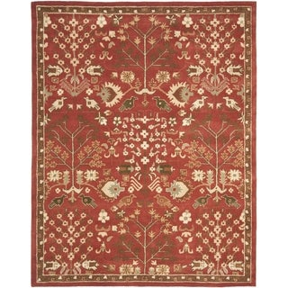 Handmade Heritage Tree of Life Red Wool Rug (7'6 x 9'6)
