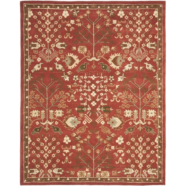 Safavieh Handmade Heritage Tree of Life Red Wool Rug (7'6 x 9'6)